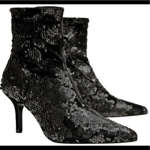 Zara Velvet Sequined Pointy Ankle Boots